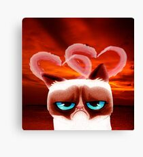 Angry Cat and Hearts Canvas Print
