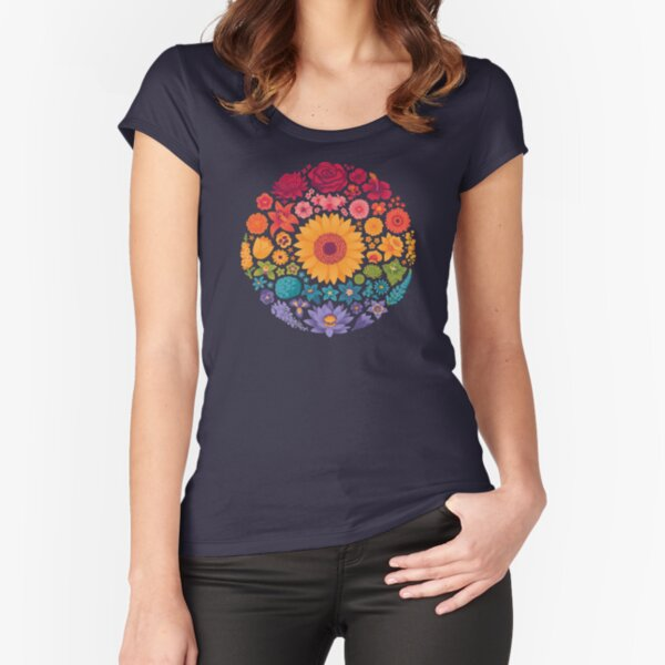 Floral Rainbow (dark) Fitted Scoop T-Shirt