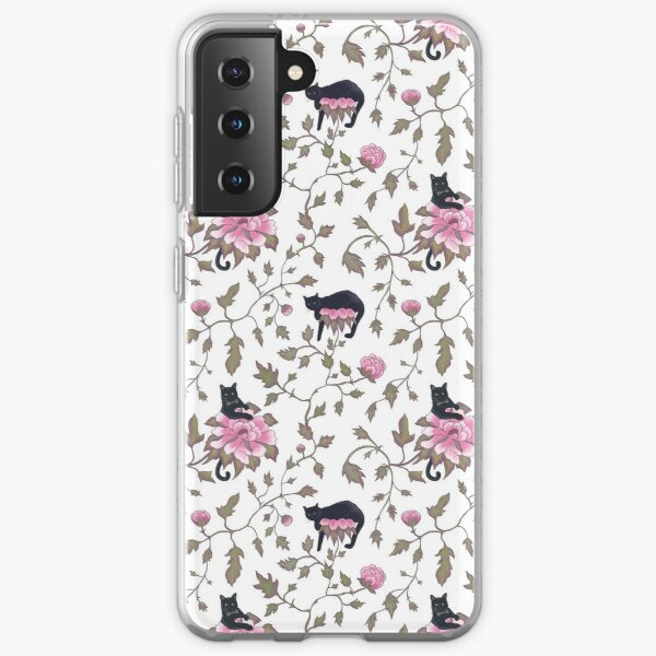 Peony flowers and cats Samsung Galaxy Soft Case