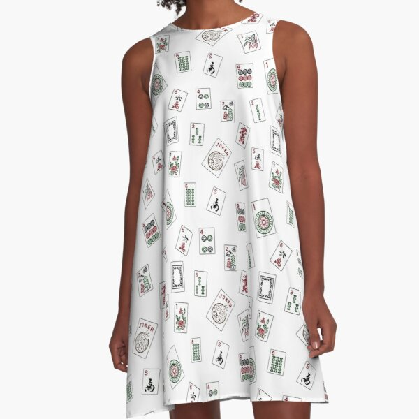 White Mahjong A-Line Dress