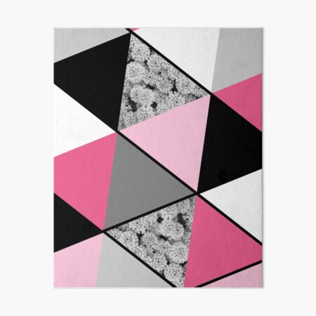 Triangles Black White Pink Grey and Flowers Art Board Print