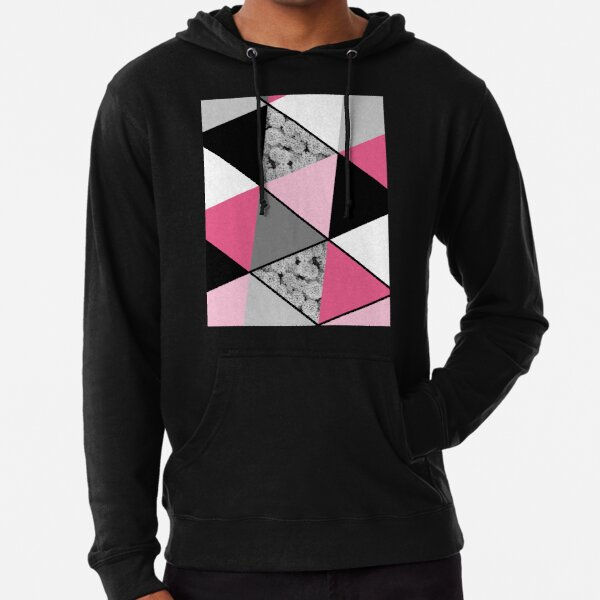 Triangles Black White Pink Grey and Flowers Lightweight Hoodie