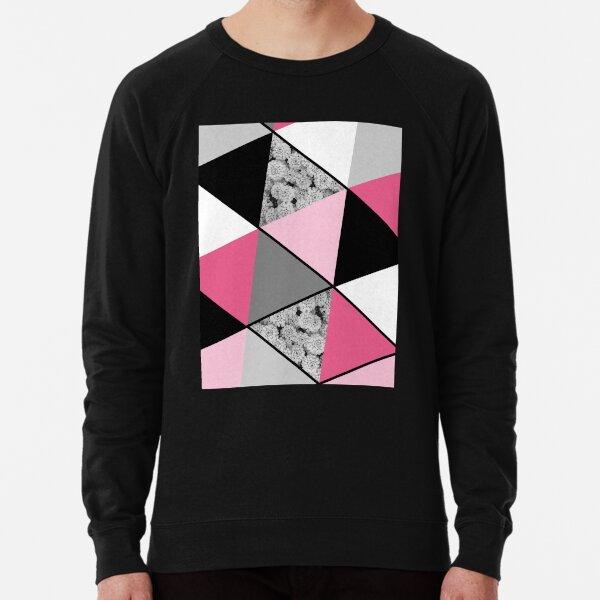 Triangles Black White Pink Grey and Flowers Lightweight Sweatshirt