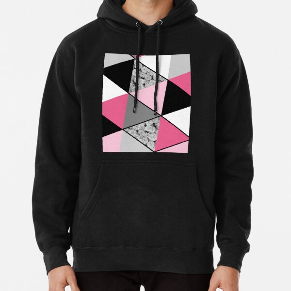 Triangles Black White Pink Grey and Flowers Pullover Hoodie
