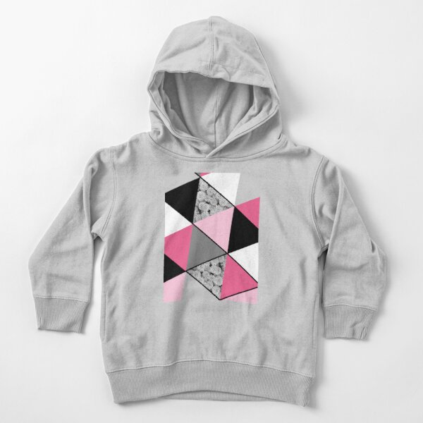 Triangles Black White Pink Grey and Flowers Toddler Pullover Hoodie
