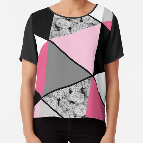 Triangles Black White Pink Grey and Flowers Chiffon Top