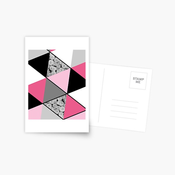 Triangles Black White Pink Grey and Flowers Postcard
