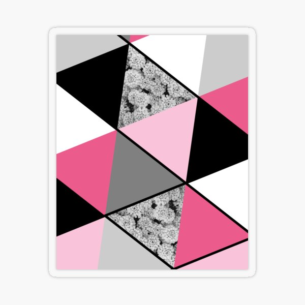 Triangles Black White Pink Grey and Flowers Transparent Sticker