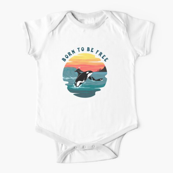 Born to Be Free Killer Whale Design Short Sleeve Baby One-Piece