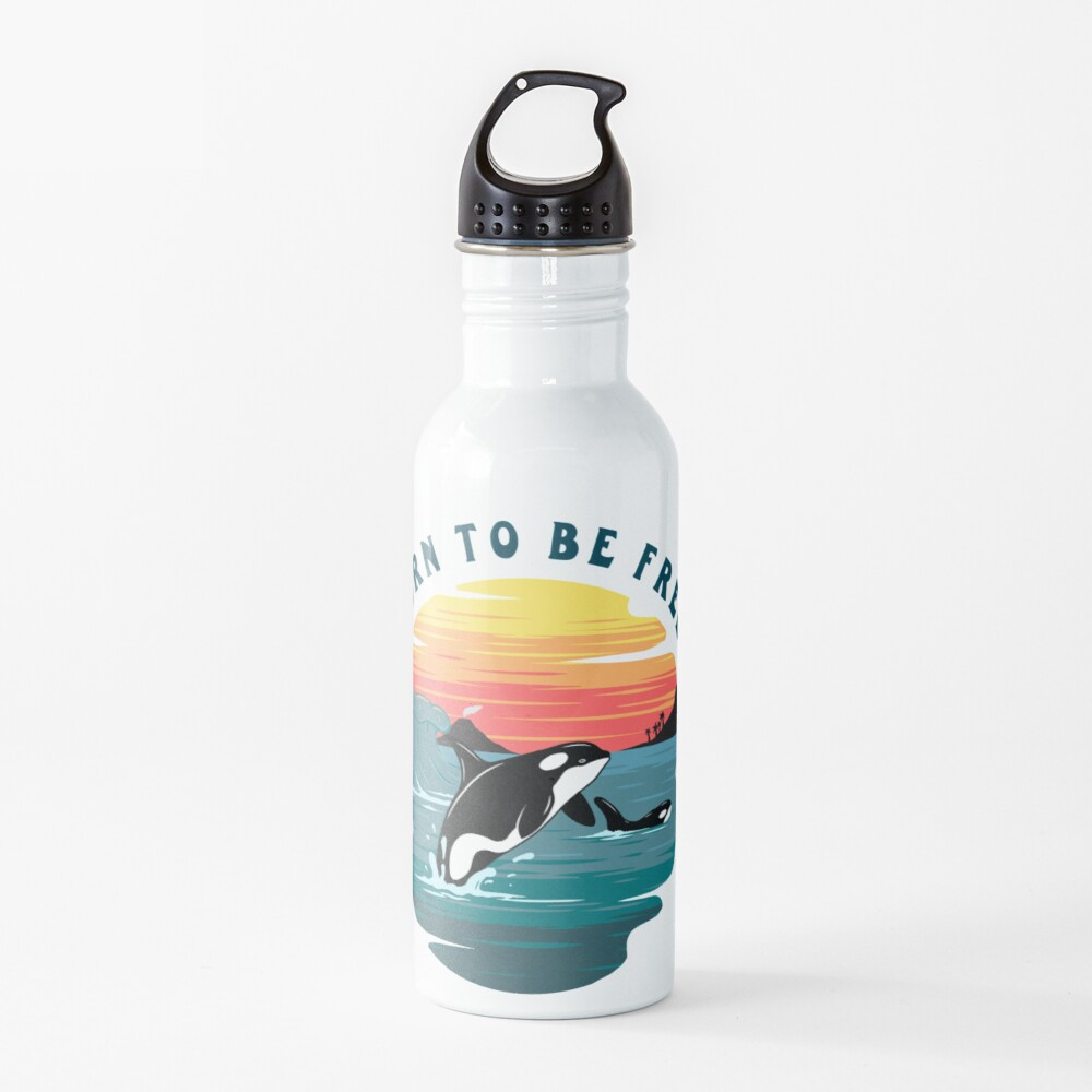 Born to Be Free Killer Whale Design Water Bottle