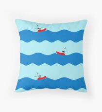 Fishing boat at sea. Throw Pillow