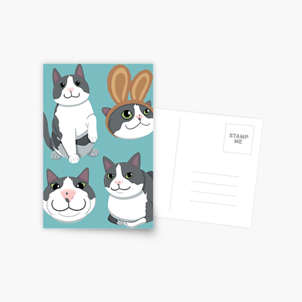 Gray And White Cat Cartoon Cute Greeting Card By Meshellg12 Redbubble