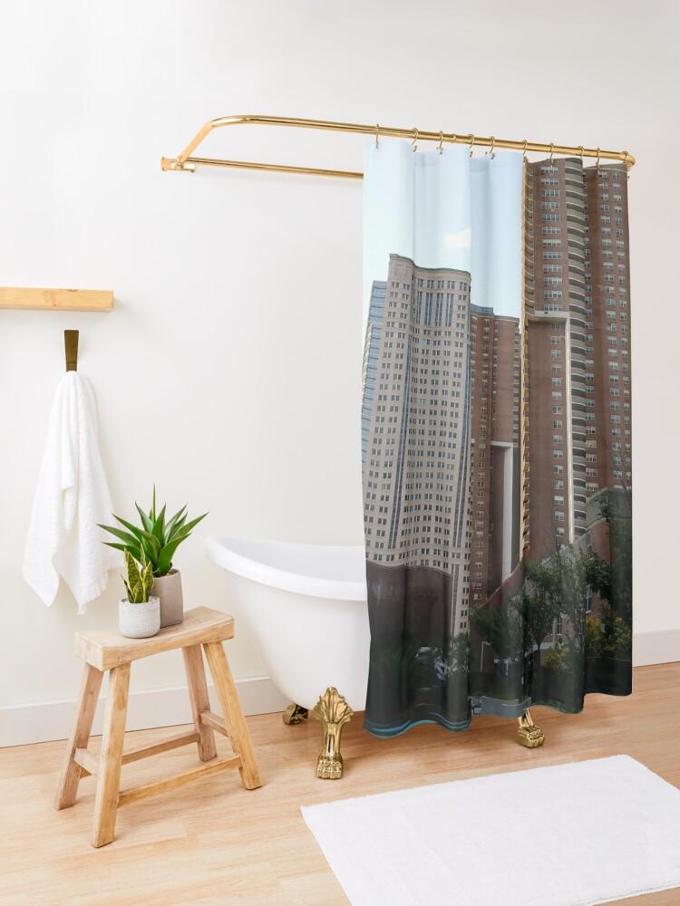 Alternate view of Tower Block, High-rise building, New York, Manhattan, Downtown  Shower Curtain