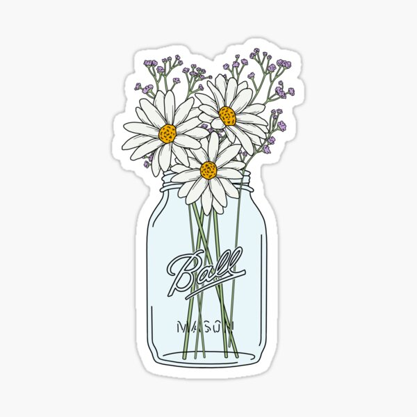 Mason Jar Daisies Sticker