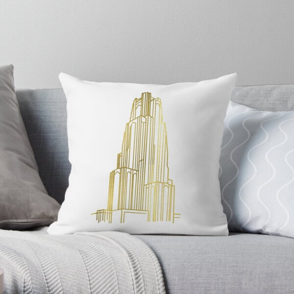 Gold Cathedral of Learning Throw Pillow