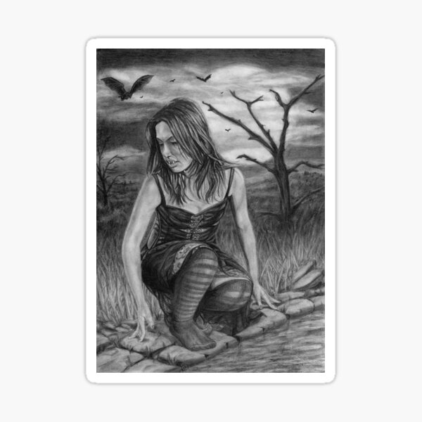 Nocturnal: Original drawing by Dean Sidwell Sticker