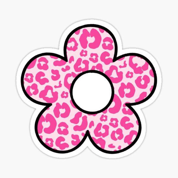 pink cheetah print flower Sticker