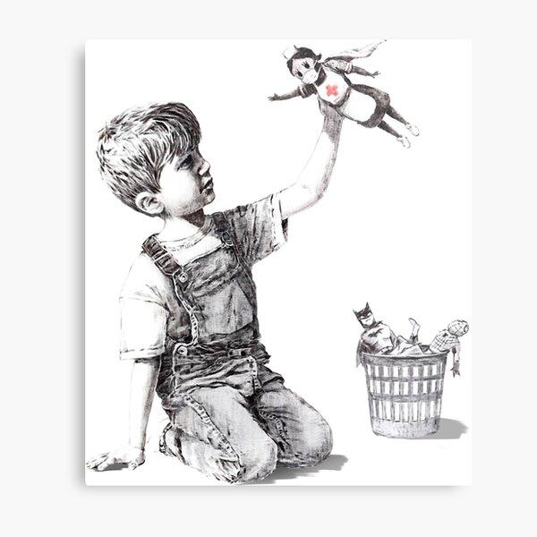 "Banksy- ""Game Changer"",Nurse Super Hero Metal Print"