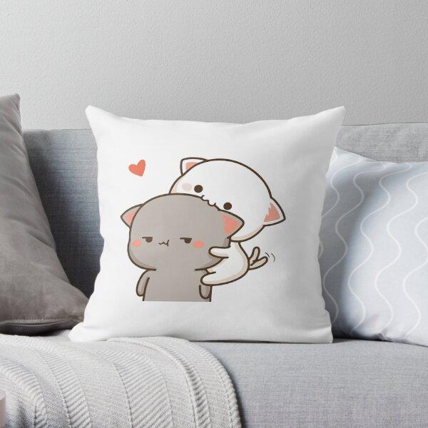 Peach Eating Goma Mochi Cat Nom Throw Pillow