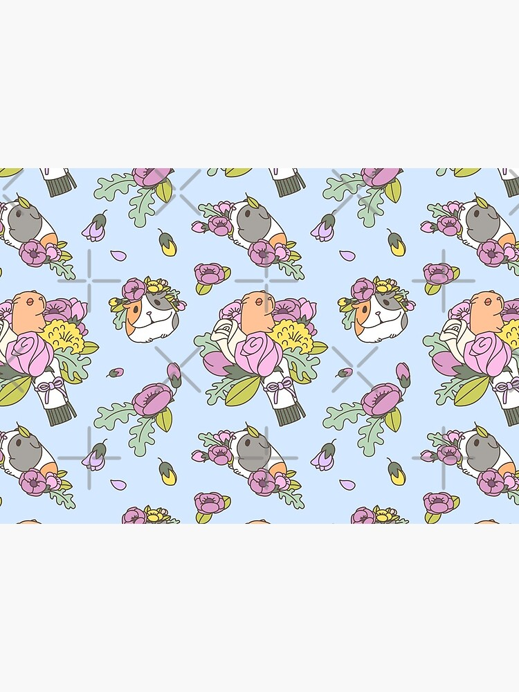 Flowers and Guinea pig pattern, spring floral Pattern  by Miri-Noristudio
