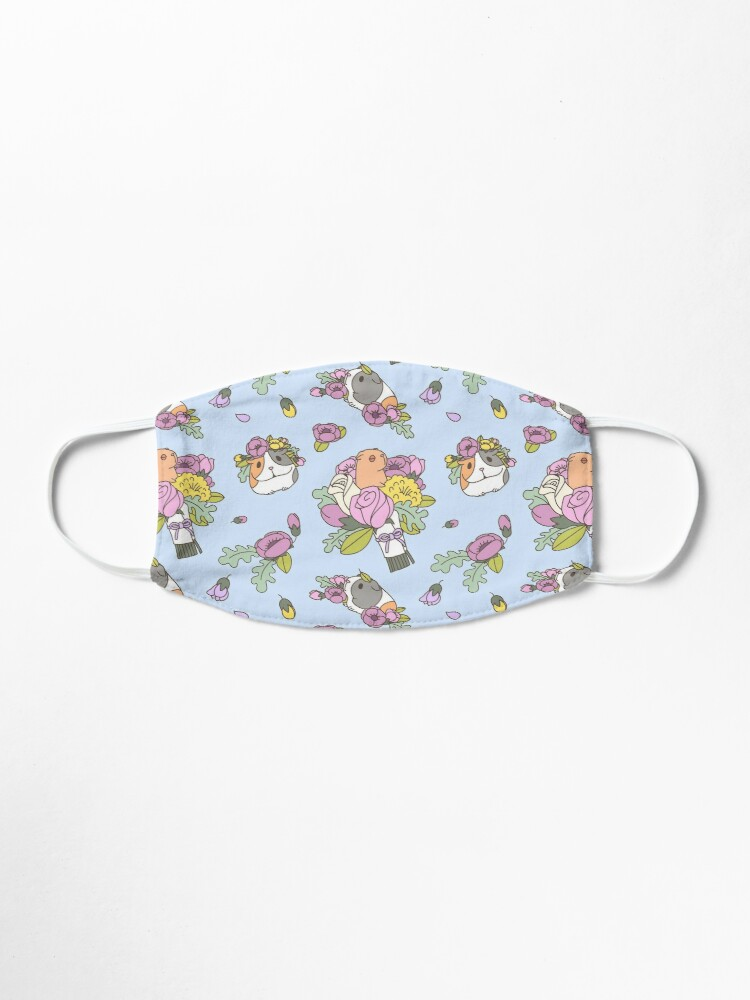 Alternate view of Flowers and Guinea pig pattern, spring floral Pattern  Mask