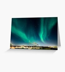 Northen lights over Reykjavík Greeting Card