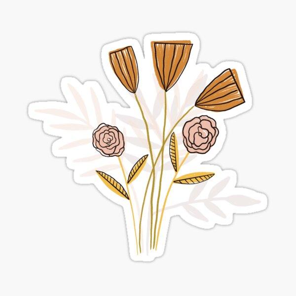 Tan floral bouquet Sticker
