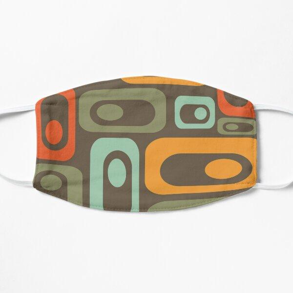 Atomic Pods Midcentury Modern Minimalist Pattern in Celadon, Orange, and Olive on Brown Flat Mask