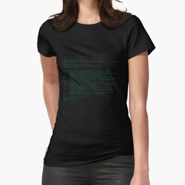 Digital Rights Command Line Terminal Screen Fitted T-Shirt