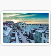 Sunrise over Reykjavik Sticker