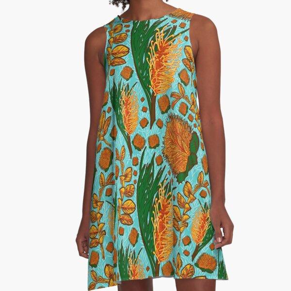 Blue and Orange Native Australian Floral Pattern - CreateArtHistory A-Line Dress