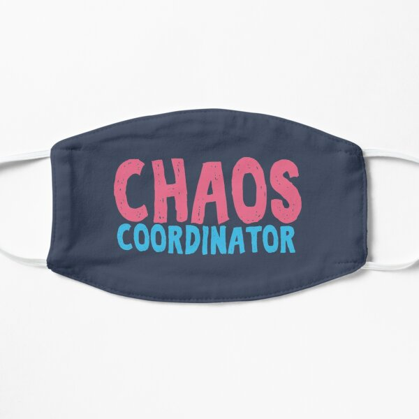 Chaos Coordinator teacher funny cute text in pink and blue colors teacher appreciation gift Flat Mask