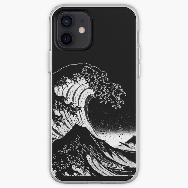 Black & White Hokusai Great Wave iPhone Soft Case