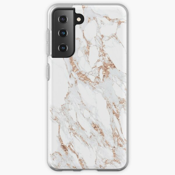 Blush Pink Rose Gold White Gray Carrara Marble Stone Abstract Delicate Girly  Samsung Galaxy Soft Case