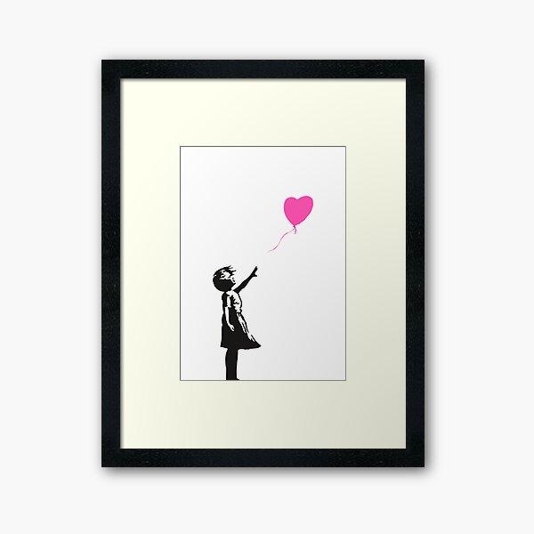 Banksy - Pink Heart Balloon Girl Framed Art Print