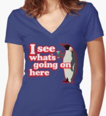 Drunken Penguin Jealousy Women's Fitted V-Neck T-Shirt
