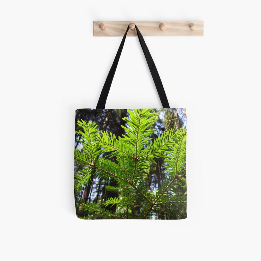 Green pine branch. Needles pattern Tote Bag