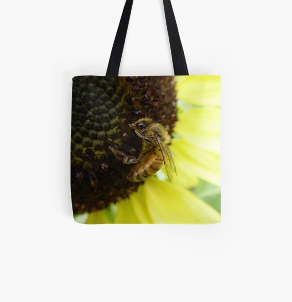 Bee on a Sunflower All Over Print Tote Bag