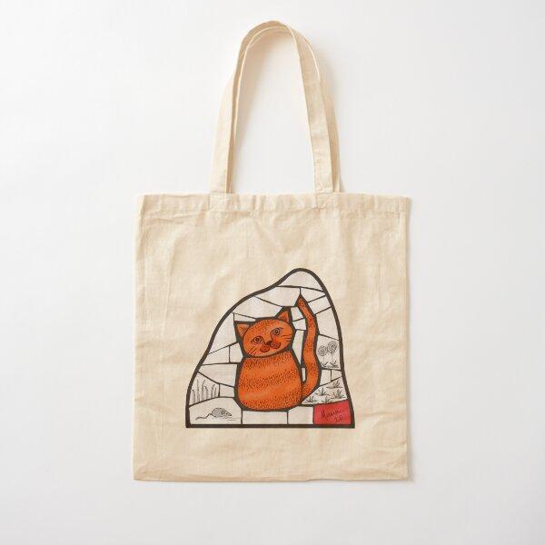 Happy Marmalade Cat mosaic illustration Cotton Tote Bag