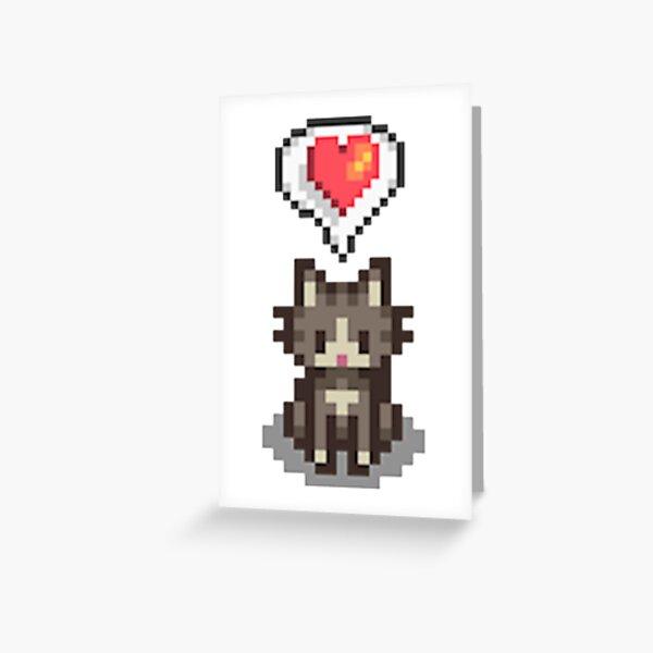 Stardew Valley glückliche graue Katze Grußkarte