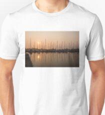 Pale Pastel Sunrise with Yachts T-Shirt