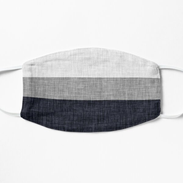 Simple Navy Blue and Grey Stripe with Graphic Burlap Pattern Mask