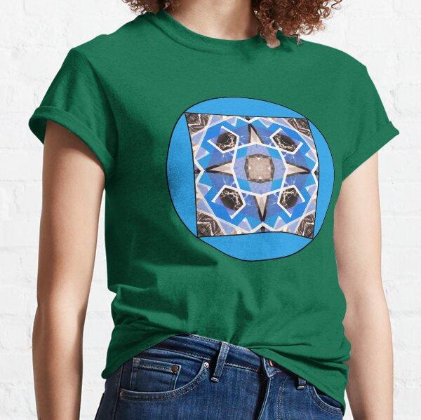 Illustration psychedelique aztèque bleu et gris Classic T-Shirt