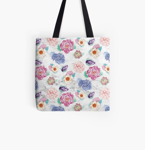 Succulent&Peony Pattern Allover-Print Tote Bag