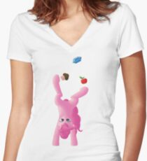 Juggling Pinkie Pie Women's Fitted V-Neck T-Shirt