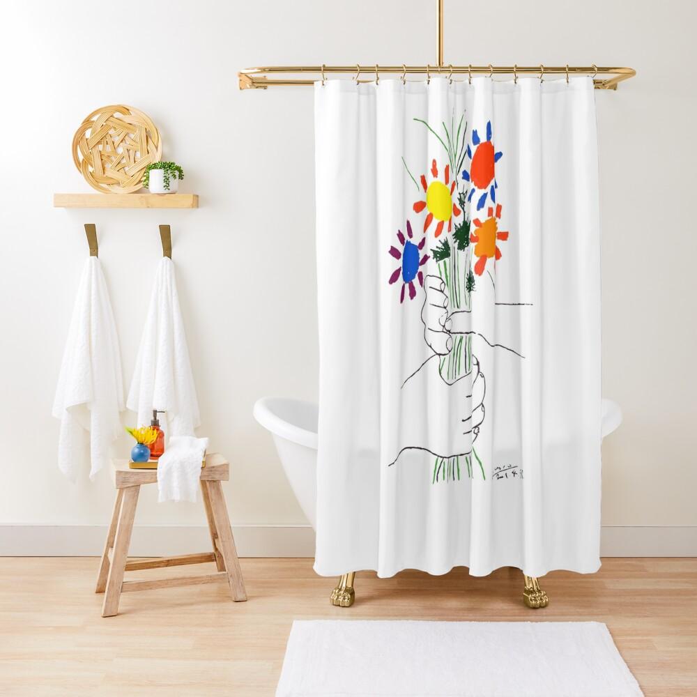 Pablo Picasso Bouquet Of Peace 1958 (Flowers Bouquet With Hands) or Le Bouquet de la Amitié (friendship) Shower Curtain
