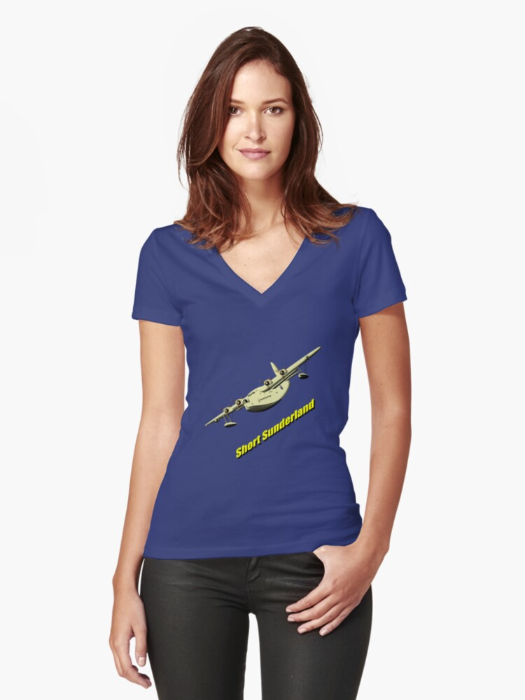 Short Sunderland Flying Boat WWII T-shirt & leggings Women's Fitted V-Neck T-Shirt Front