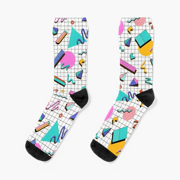 Funky 80s eighties Memphis Pattern Design Chaussettes