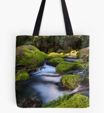 Omanawa river run moss rocks Tote Bag