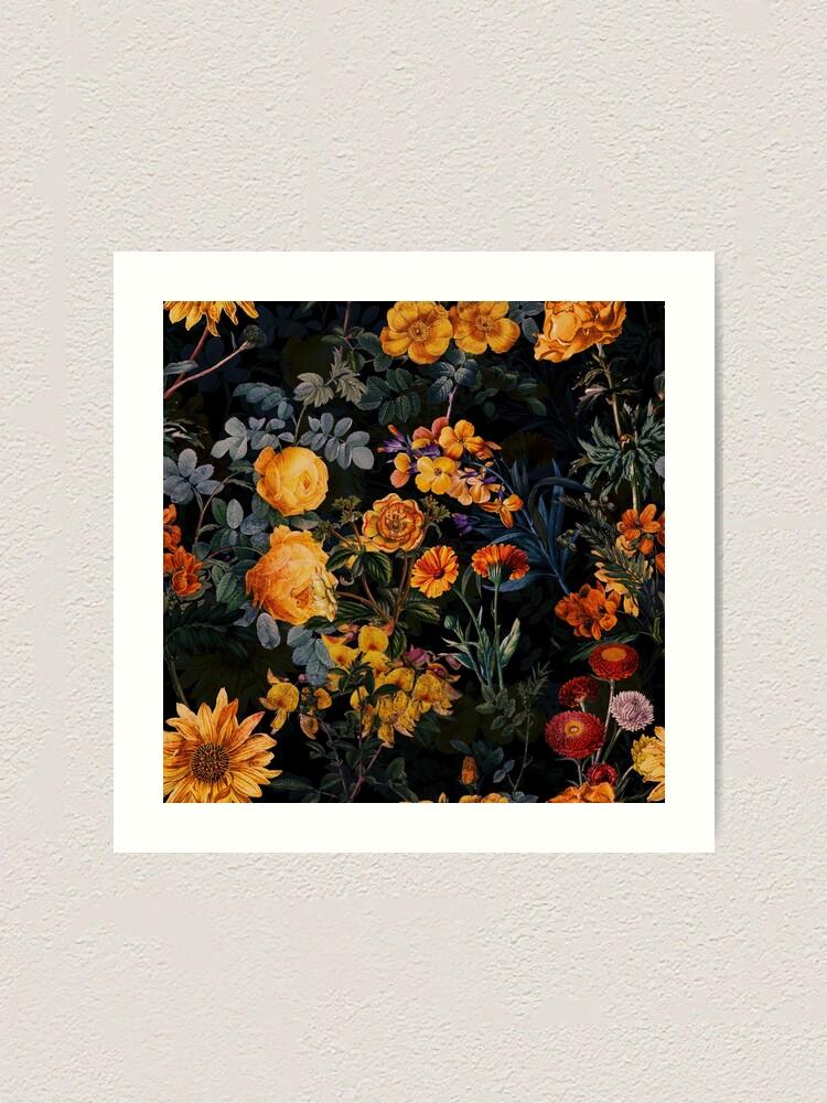 Alternate view of  Vintage Botanical Golden Night Garden Art Print